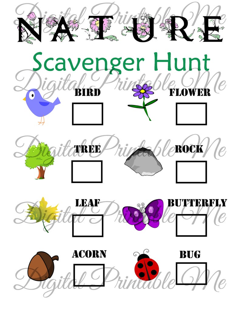 photo about Printable Nature Scavenger Hunt called Character Scavenger Hunt Printable, Youngsters Recreation, Garden, Sport, Obtain, Celebration, Spring, Going for walks, Hike, Routines Youngsters, Planet Working day sheet