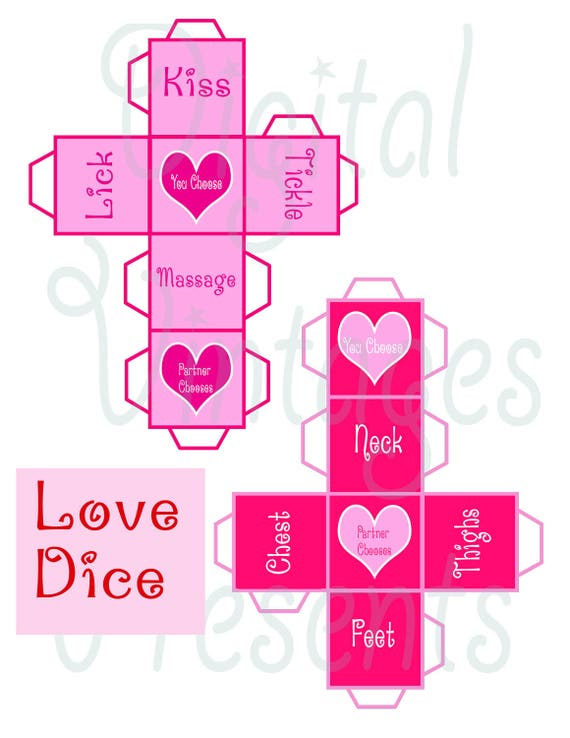 Printable Love Dice Valentine S Day Game Sex Naughty Etsy
