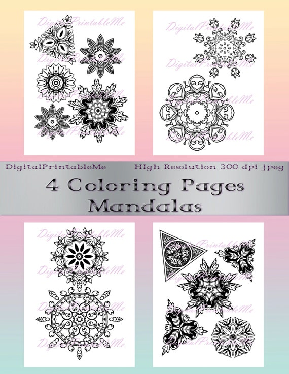 Adultos para colorear página Pack 1 4 mandalas mandala | Etsy