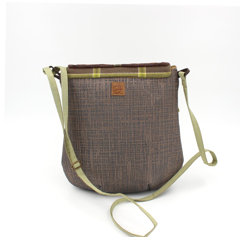 Zip light and practical. brown and green shoulder bag with flap Women/'s bag associated fabrics