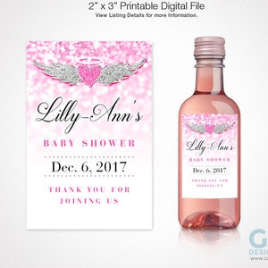 Mini Wine Bottle Label w Heart Halo Wings for Girl Baby Shower Printable Pink White /& Silver Sparkle Glitter Heaven Label for Party Favor
