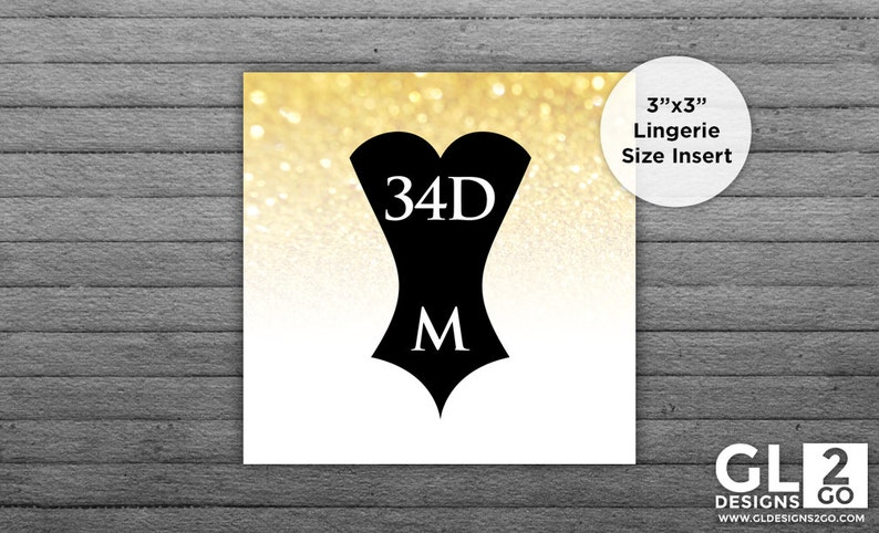d17173471c67 Lingerie Size Insert. Bridal Shower Invitation Insert. Bride Bra   Panty  Size. Printable Gold Sparkle Glitter Corset Insert. Bachelorette