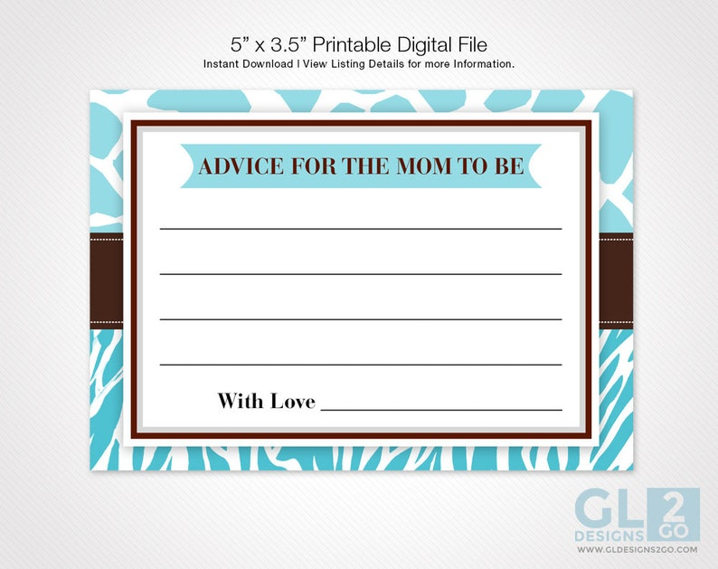 fe233ab3ca0e2 Advice for Mom to Be   Advice for Mommy. Printable Blue White