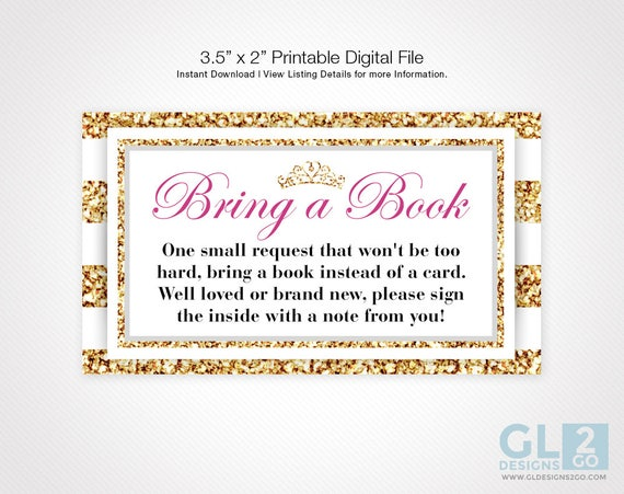 Princess baby shower bring a book invitation insert instant etsy image 0 filmwisefo