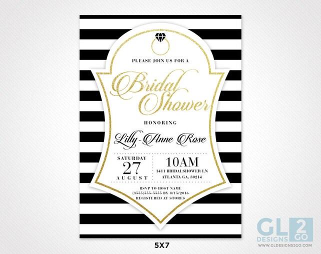 White black gold bridal shower invitation black and white etsy image 0 filmwisefo
