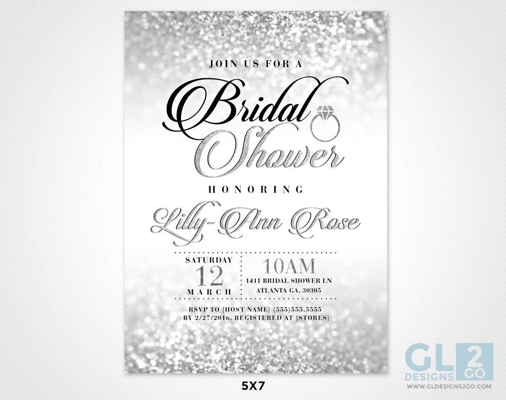 Silver Bridal Shower Invitation. Silver & White Black Pink   Etsy