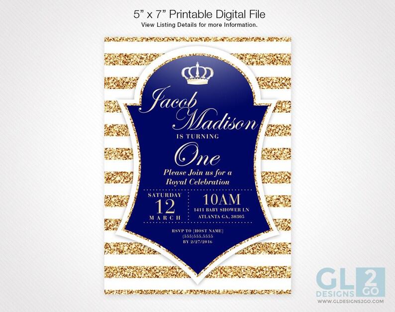 Prince Birthday Invitation White Gold Royal Blue Digital Etsy