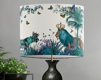 Lamp shade Tropical Lions Blue - drum lampshade Lion decor jungle tropical decor nursery lampshade blue lampshade blue room decor lighting