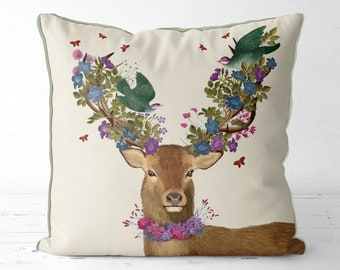 Deer decor Animal pillow Deer Pillow Cover living room decor farmhouse pillow Spring home sofa cushion spring decor new home gift stag decor