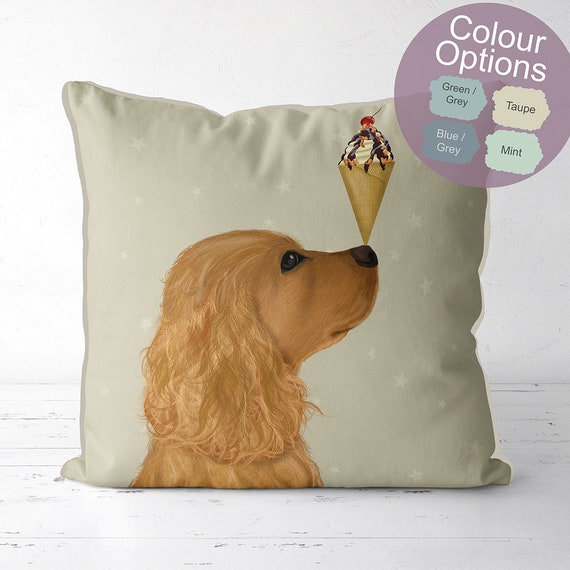 tan cocker spaniel pillow dog