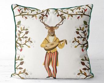 Gift for music lover sofa pillows woodland decor deer pillow deer cushion deer gift Country cabin rustic ski lodge decor Animal print pillow