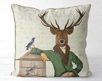 Deer pillow cover Deer decor Animal pillow - Deer & Bamboo Cage - woodland decor sofa pillows Scotland Gift deer throw pillow new home gift