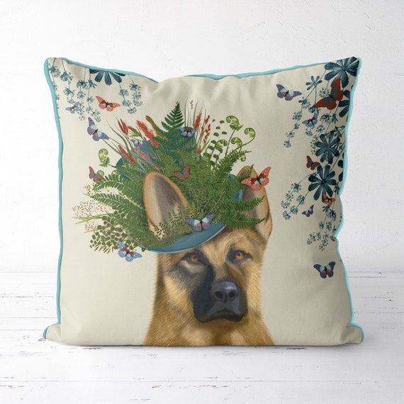 18 x 18 Inch German Shepherd Sits Here Customizable Cushion Cover Personalised Dog Gift Pillow Case
