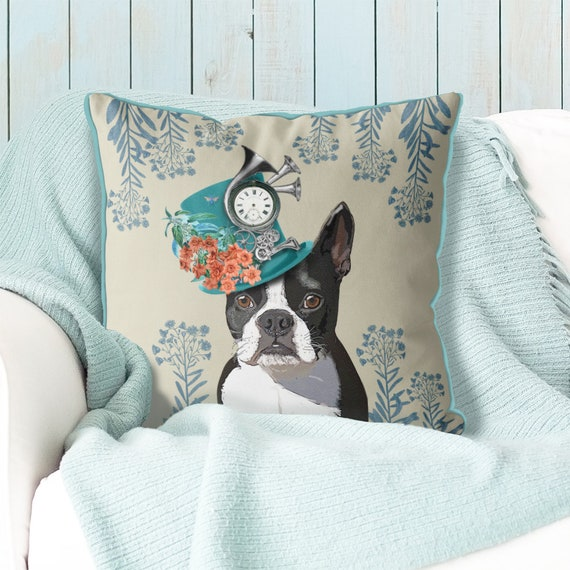 Boston Terrier Pillow Boston Terrier Cushion Dog Pillow Cover Etsy Custom Boston Terrier Decorative Pillow