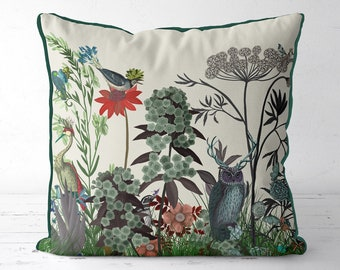 Wildflower Bloom - Owl - Floral pillow cover floral cushion cover bright colorful throw pillows summer flower decor multicolor pillows