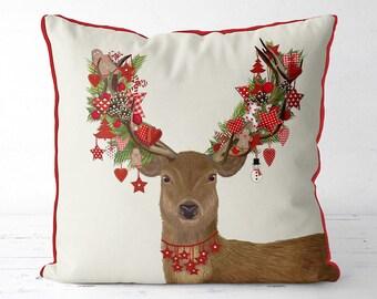 Christmas pillow cover - Homespun Wreath - Christmas stag Christmas deer Xmas cushion cover woodland animal decor Christmas decoration stag