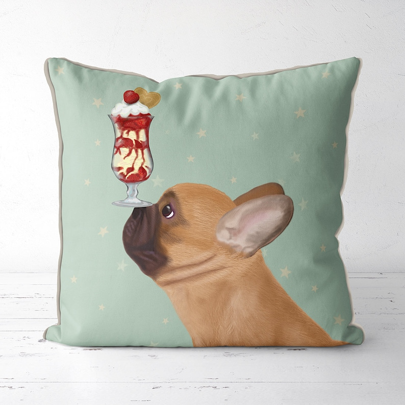 Cushion Cover Digital Printed Linen Pillow Cover Decorative French Bull Themed Home Decoration Accessories Cute Dog Cushion Cover 45x45cm Home & Garden