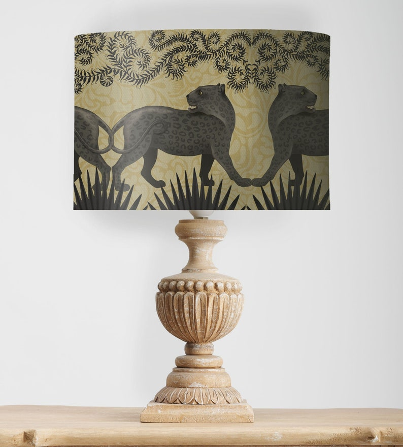 Panther lamp shade Palm tree lamp shade Animal lampshade Black panther decor Gold designer shade Tropical home decor Funky lampshade Gold