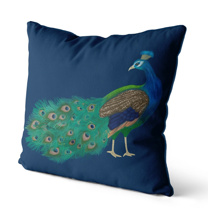 modern pillow Peacock Head Turned Peacock Pillow cover scatter cushions Peacock cushion cover Gold blue green teal decor Pillow sham