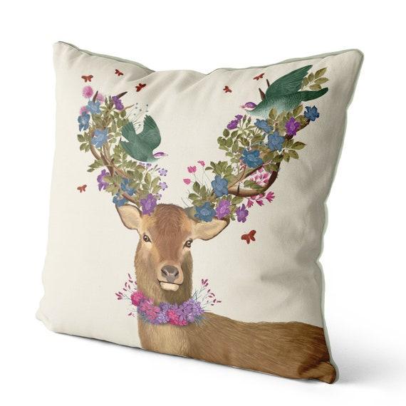 Farmhouse Easter Watercolor Deer Pillow