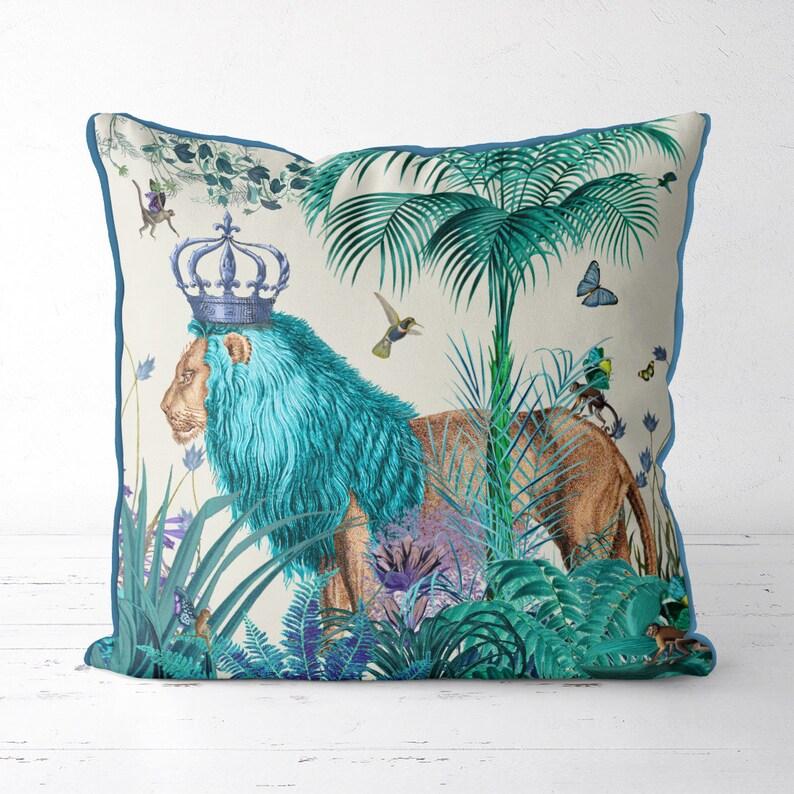 Lion Pillow cover blue pillow cover blue decor jungle pillow image 0
