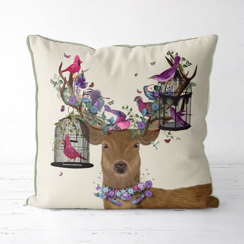 stag pillows Deer pillows Deer cushions purple pillow cover image 0