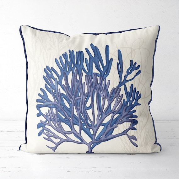 aqua blue coral fan pillow, coastal