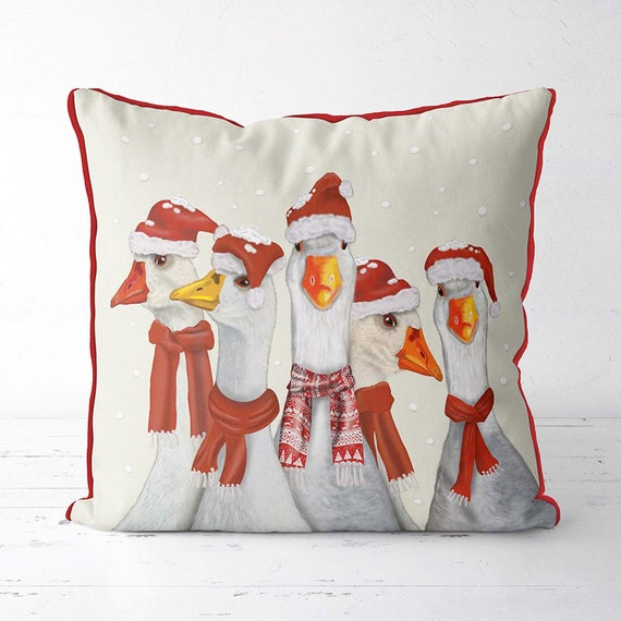 Christmas Pillows Christmas Geese Cover Xmas Goose Cushion Etsy