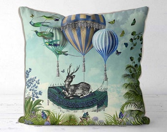 Decorative cushion cover - Flight of the Stag -  Decorative pillow cover deer decor stag cushion stag pillow blue and green tropical print