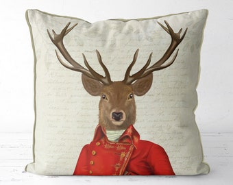 Decorative pillow Deer decor stag decor Woodland animal - Deer in Red & Gold - woodland decor living room decor country home interior