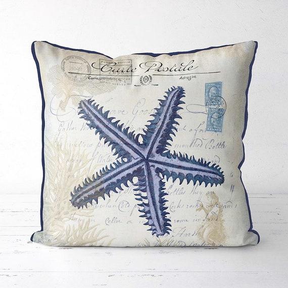 Nautical throw pillows seaside fabric beach cottage decor decorative cushion coastal decor beach