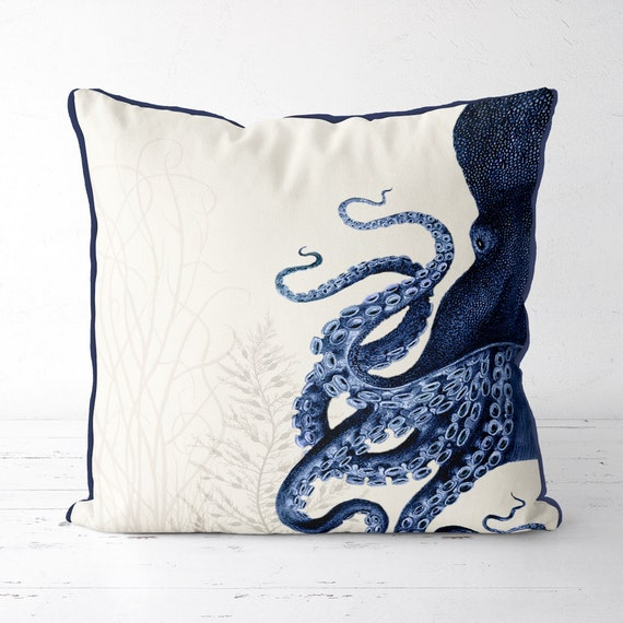 Octopus Pillow Cover Blue and White