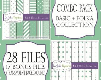 Mint Tapete Grundlegende + Gepunktet Sammlung (Papier)   Muster Für  Scrapbooking, Einladung, Karte, Planer, Taufe, Geburtstag, Baby