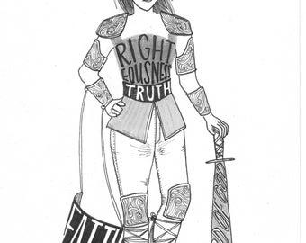 The Full Armor of God (Hand Drawn Illustration)