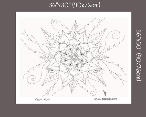 Mandala géant à colorier Mandala fleur Coloriage adulte | Etsy