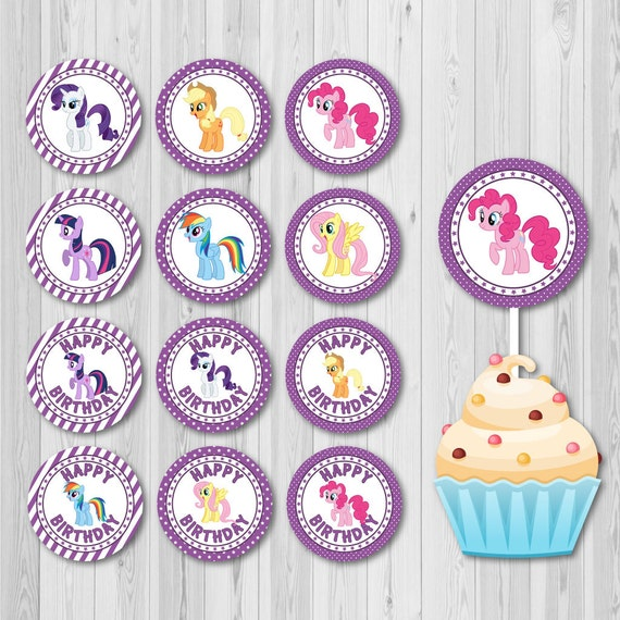 My Little Pony Birthday Cake Toppers In Purple Color Digital Etsy