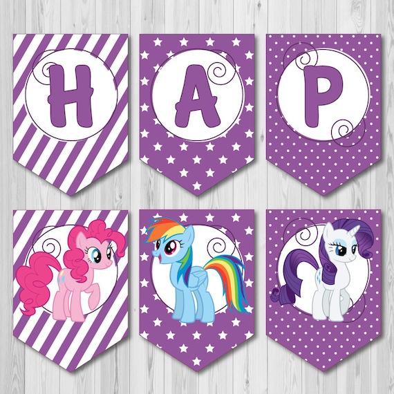 purple happy birthday printable banner from my little pony etsy