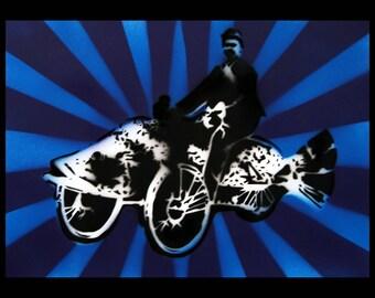 Kaleidoscope Fish Rider Stencil art