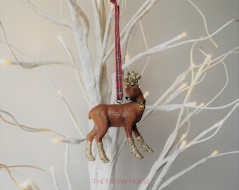 gold deer christmas decoration choice of ribbon deer tree ornament animal christmas decorations animal tree ornaments liberty tartan - Animal Christmas Decorations