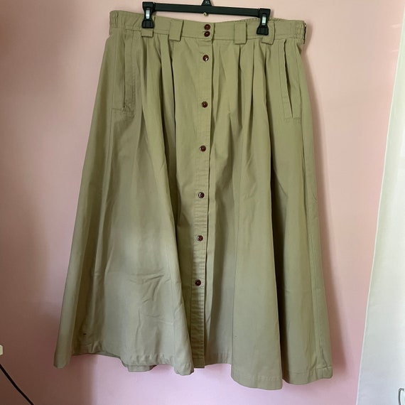 Vintage button down a line skirt size 14 with poc… - image 1