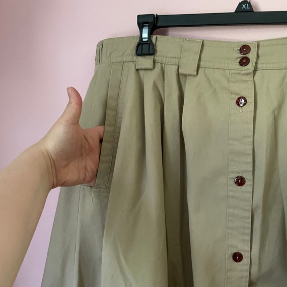 Vintage button down a line skirt size 14 with poc… - image 4