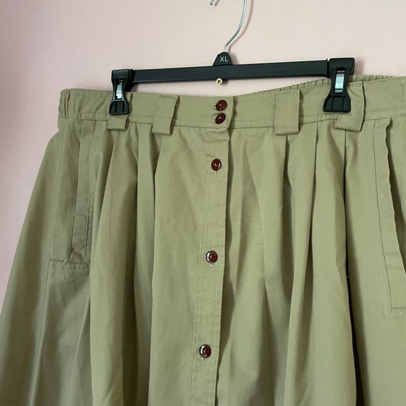 Vintage button down a line skirt size 14 with poc… - image 5