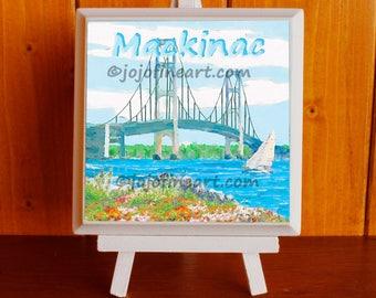 """Mackinac Bridge art painting 4""""x4"""" by jojofineart.com"""