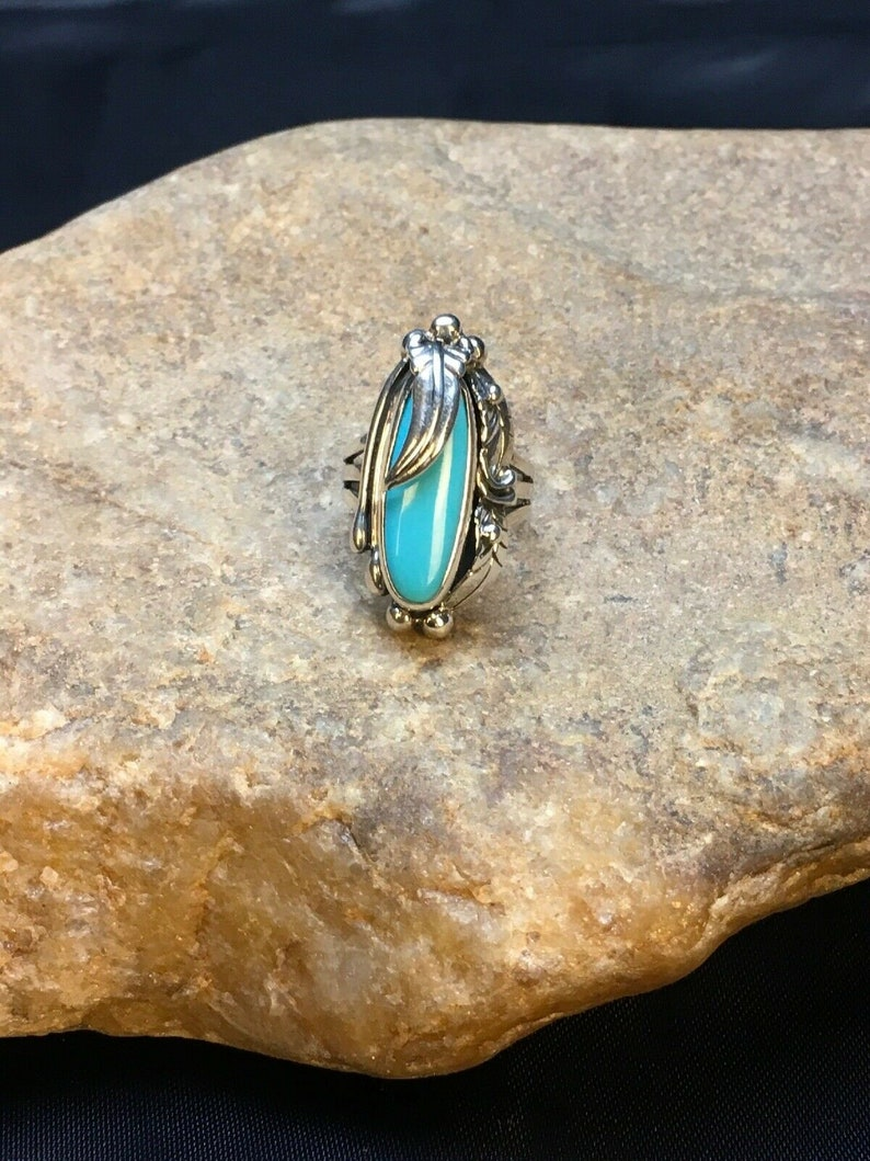 Native American Navajo Native American Sterling Silver Blue Turquoise Ring Sz 4.75 8918