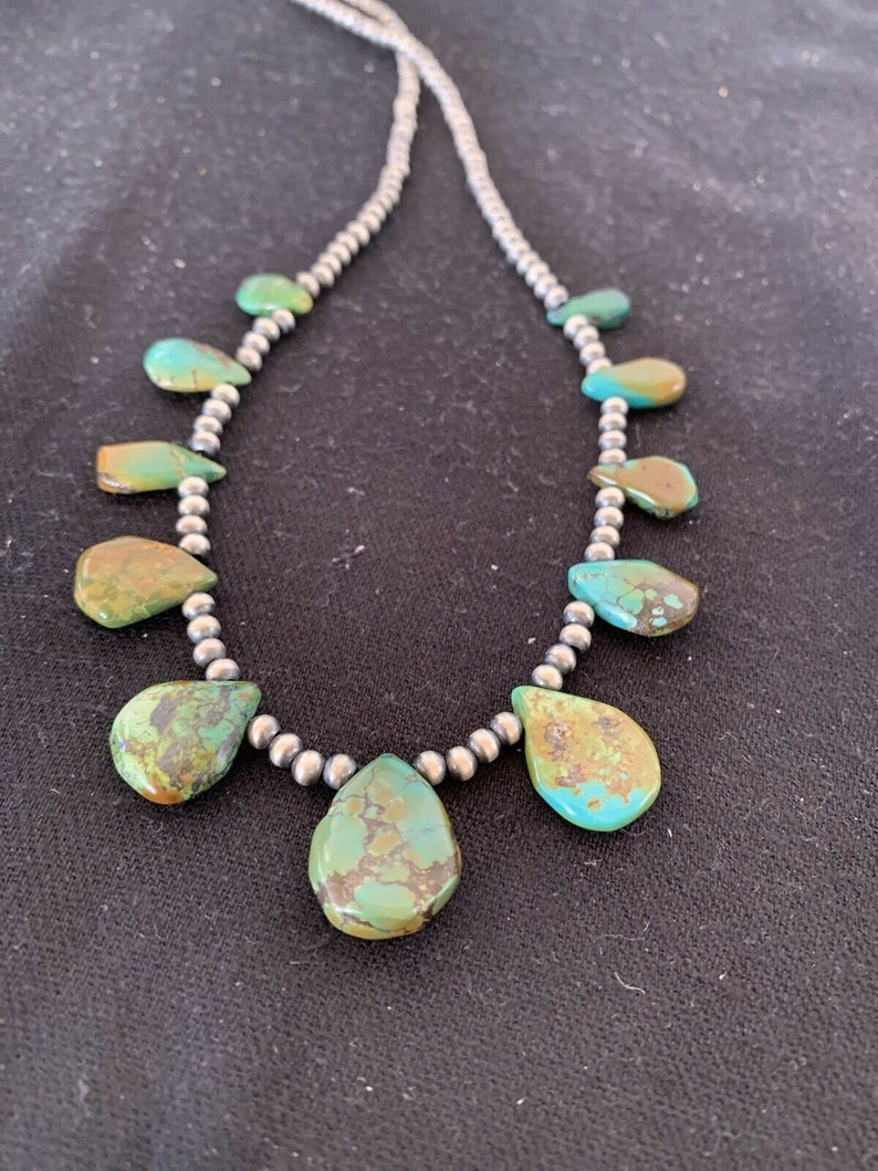 Native American Navajo Pearls Sterling Silver Royston Turquoise Necklace 483