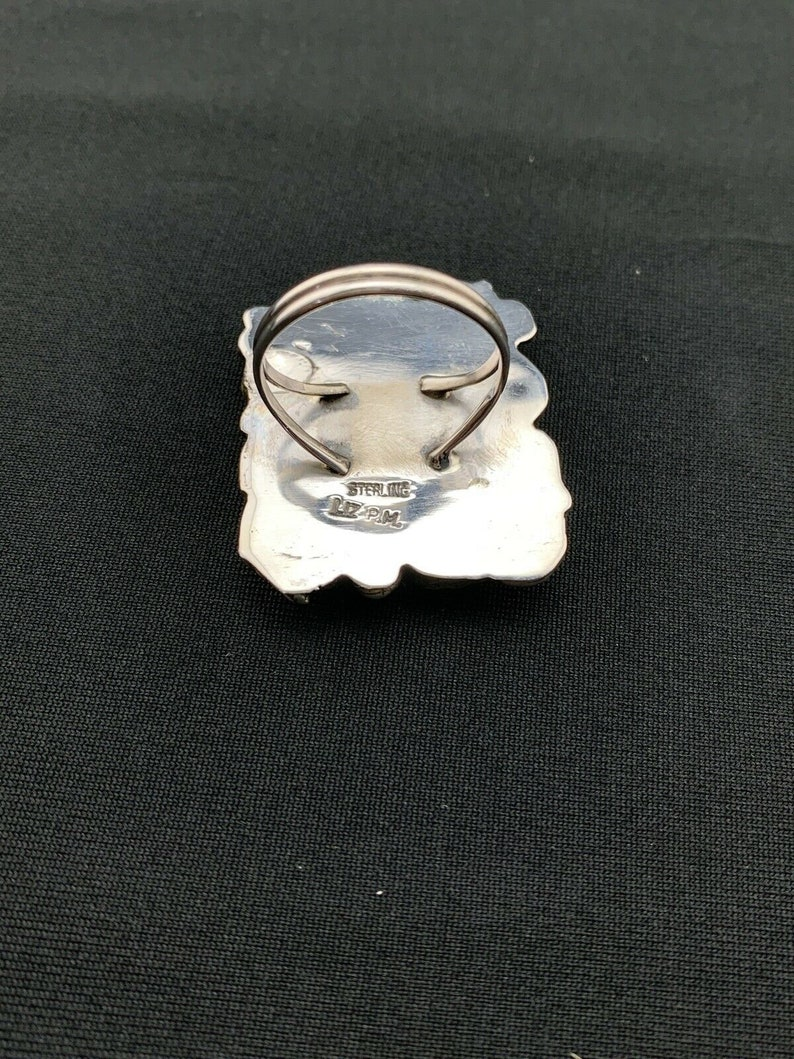 Rare Native American Sterling Silver Blue Turquoise Spiny Oyster Ring 367