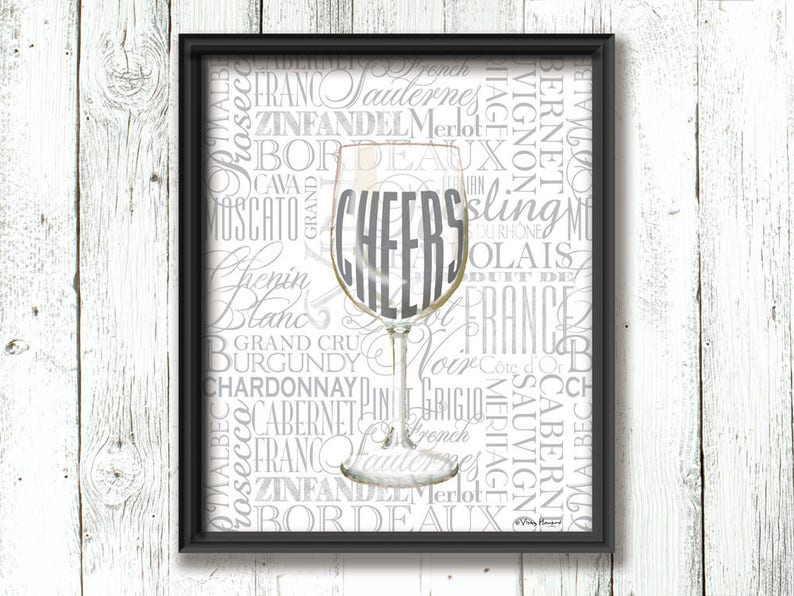 image about Printable Wine Glass Tags named Cheers wine wall artwork printable present tags wine gl instance typography Artwork Style and design Happiness residence decor