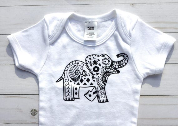 46739ecbc Elephant Bodysuit Elephant Mandala  Gender Neutral Baby Shower