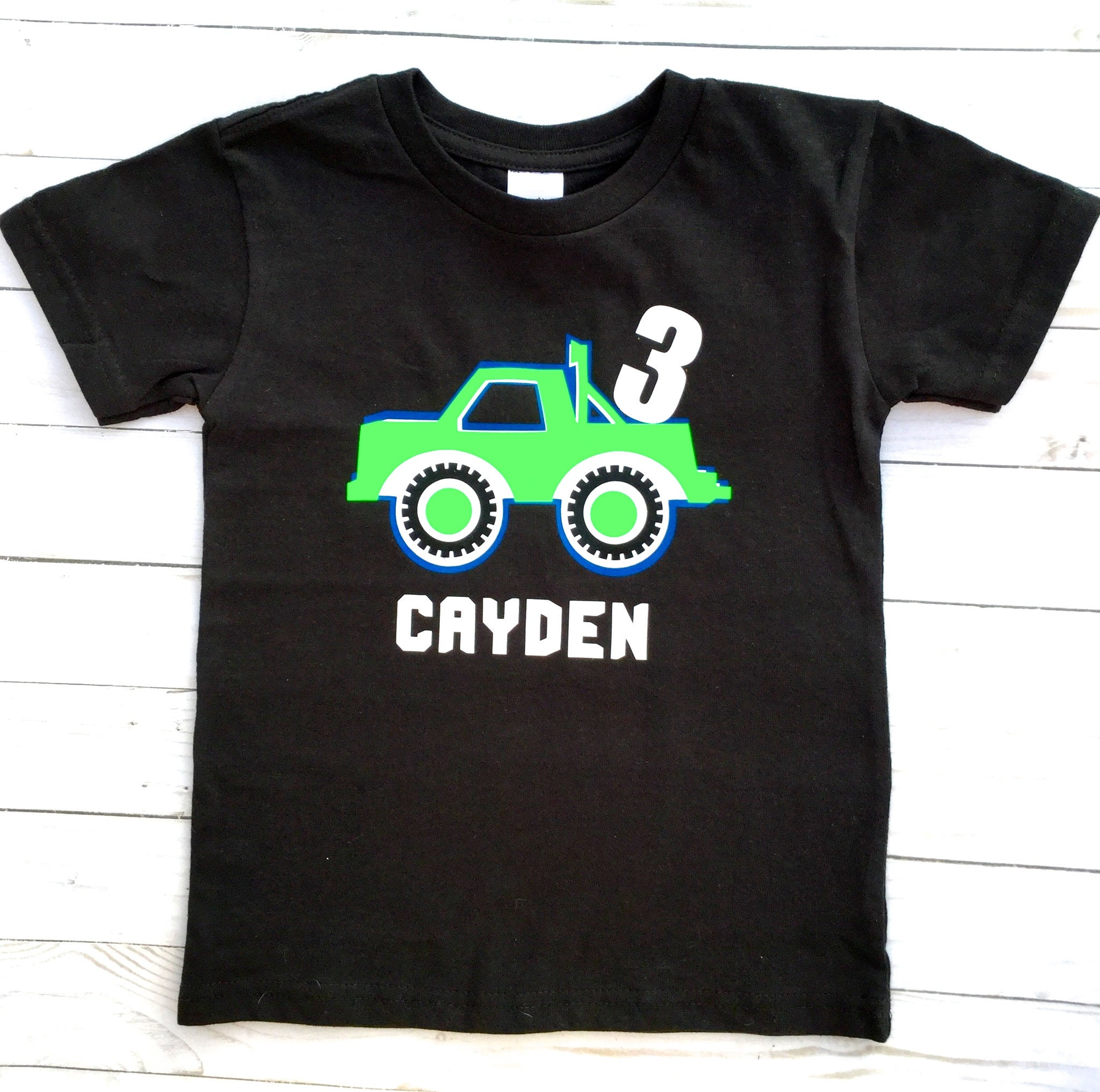 Personalized Toddler Boy Shirt Birthday Tshirt Outfit Child T Trucks 3 Years Old 2