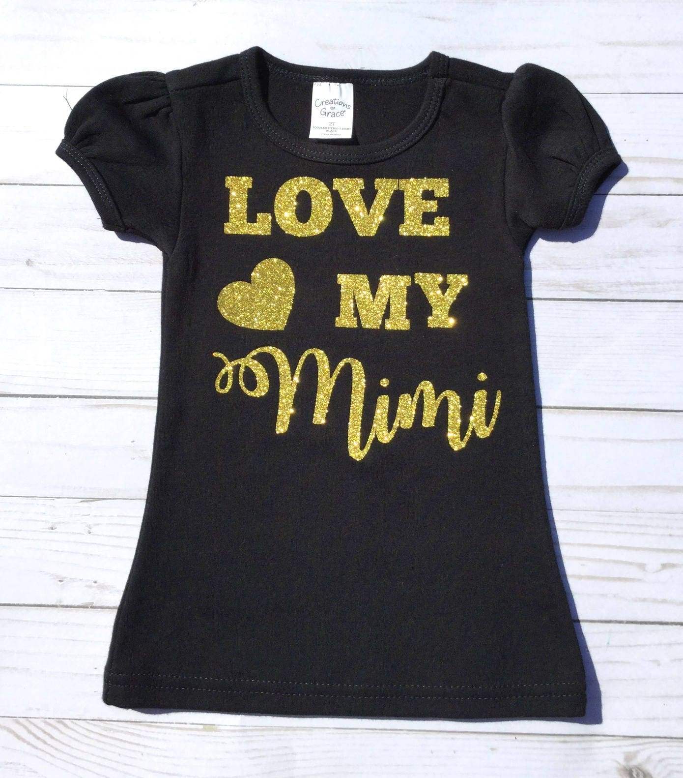f6f61c00b Black and Gold/Toddler T Shirt/ Girl's T Shirt/Little Girl Gift /Baby Girl  Gift/ Black and Gold T Shirt/Love Mimi T Shirt